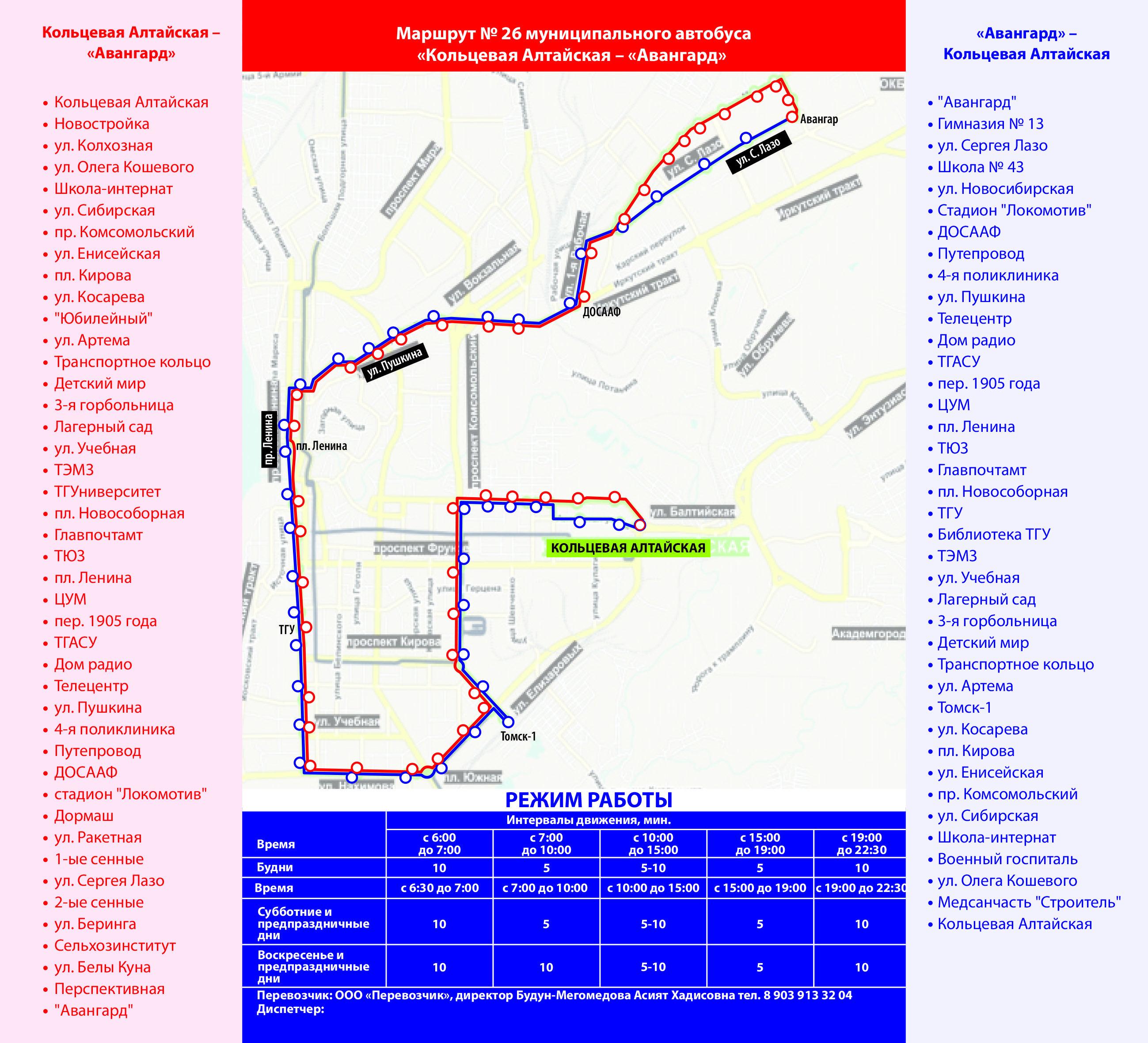 Схема новых маршрутов томск
