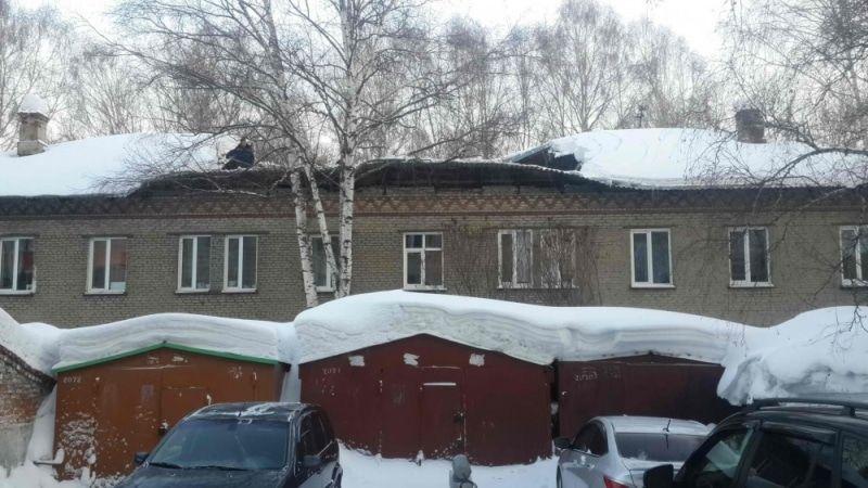 Вжилом доме наСибирской вТомске частично обрушилась крыша